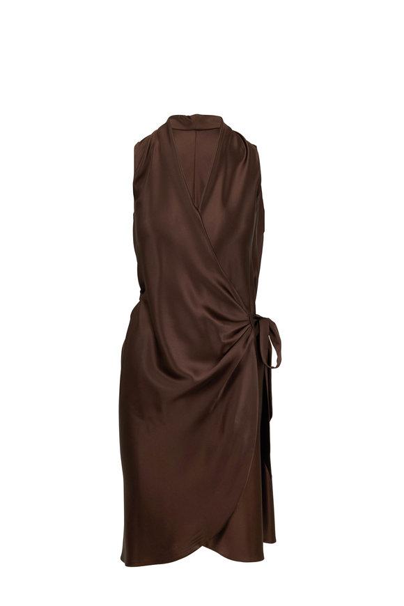 Peter Cohen Brown Silk Wrap Dress