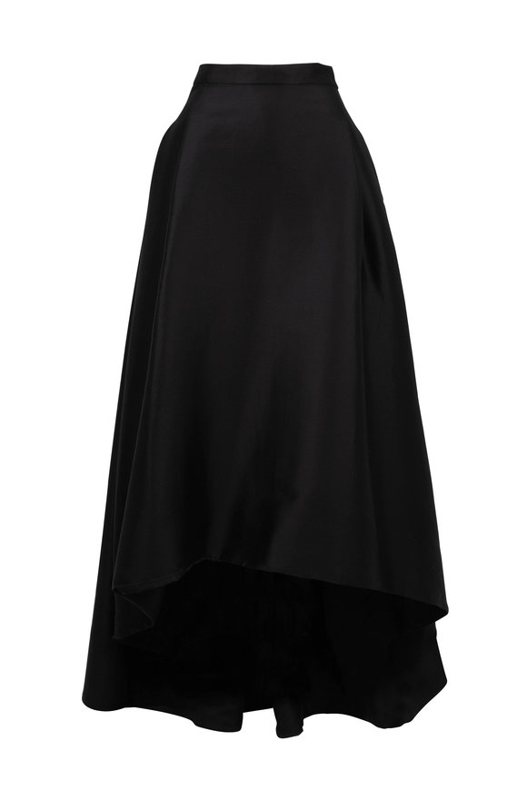 Carolina Herrera Black Cotton & Silk High-Low Evening Skirt