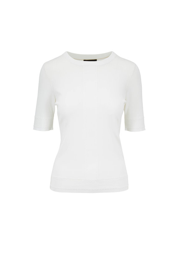 Escada Sensial Off White Elbow Sleeve Knit T-Shirt