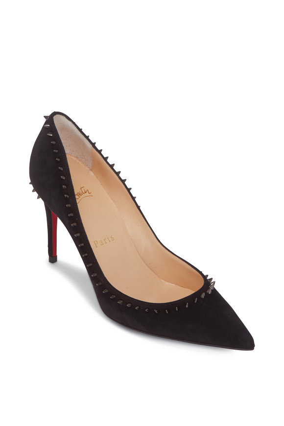 Christian Louboutin Anjalina Black Suede Studded Pump, 85mm