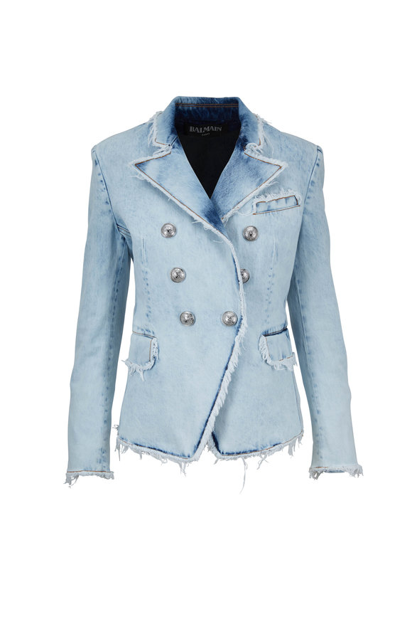Balmain Bleached Denim Double-Breasted Signature Jacket