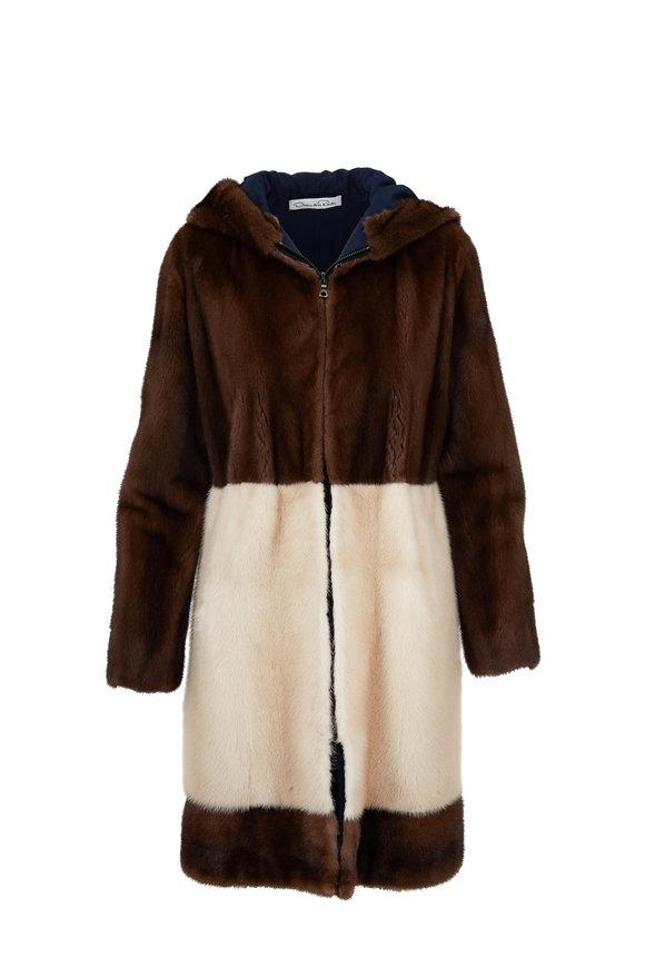Oscar de la Renta Furs Mahagony & Palomino Mink Hooded Coat