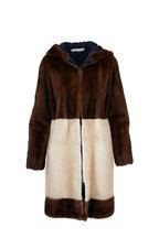 Oscar de la Renta Furs - Mahagony & Palomino Mink Hooded Coat