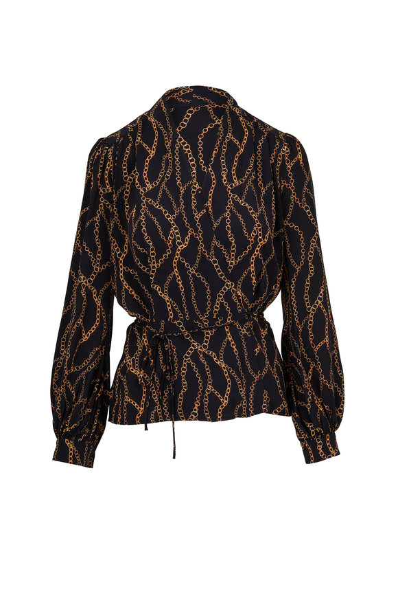 L'Agence Cara Black Silk Chain Printed Wrap Blouse