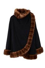 Oscar de la Renta Furs - Black Cashmere Mink Trim Cape