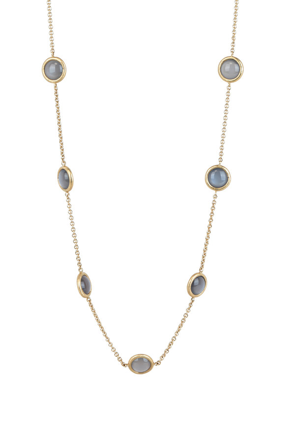 Aaron Henry 18K Yellow Gold Gray Moonstone Chain Necklace