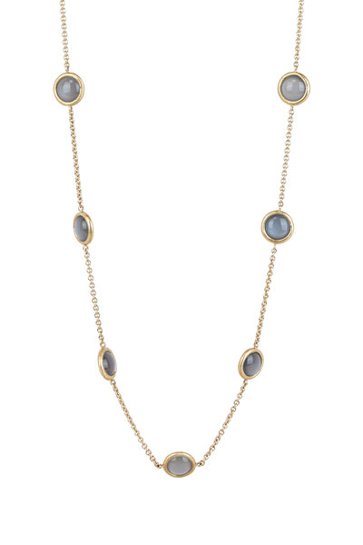 Aaron Henry - 18K Yellow Gold Gray Moonstone Chain Necklace