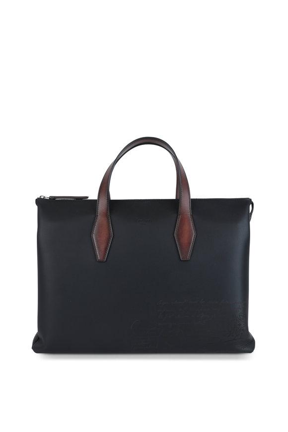Berluti Perspective II Black Leather Briefcase