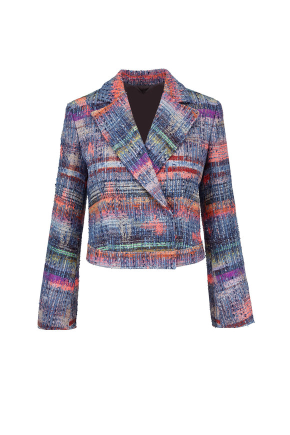 Emporio Armani Multi Textured Weave Crop Jacket