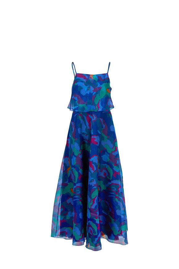 Emporio Armani Multi Floral Camo Silk Sleeveless Maxi Dress