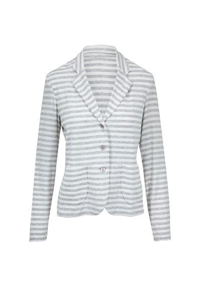 Majestic - Milk & Brume Striped Chine Soft Touch Knit Blazer