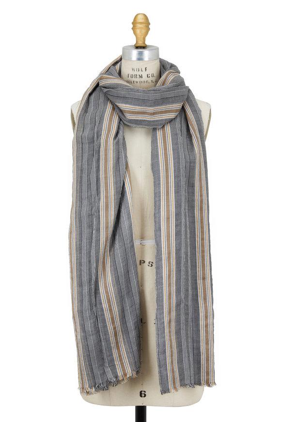 Brunello Cucinelli Gray & Gold Cotton Cashmere Lurex Stripe Scarf
