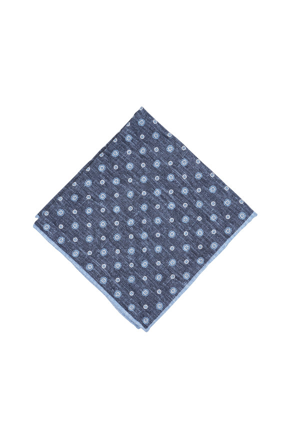 Paolo Albizzati Blue Medallion Silk Blend Pocket Square