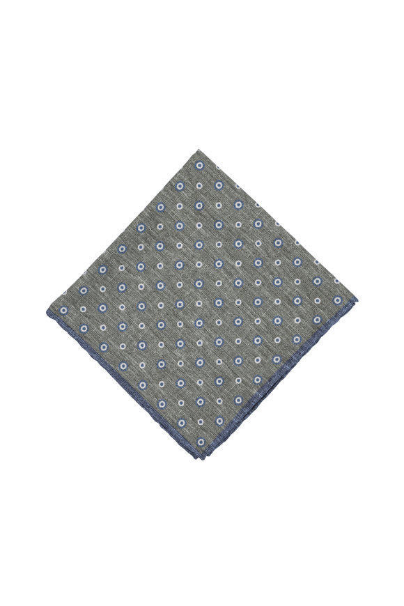 Paolo Albizzati Green & Blue Dot Silk Blend Pocket Square