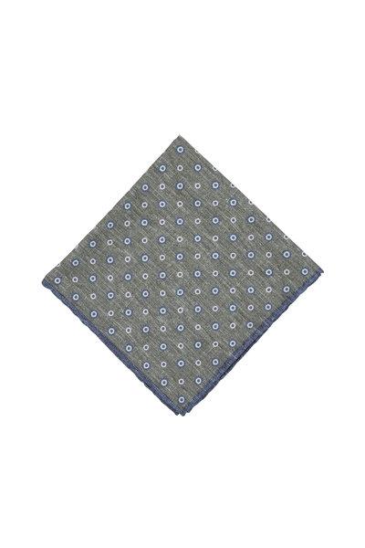 Paolo Albizzati - Green & Blue Dot Silk Blend Pocket Square