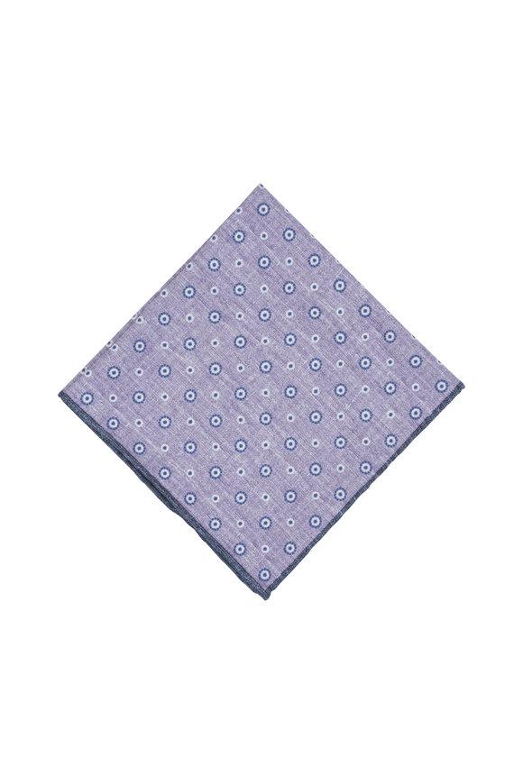 Paolo Albizzati Lavender Geometric Silk Blend Pocket Square