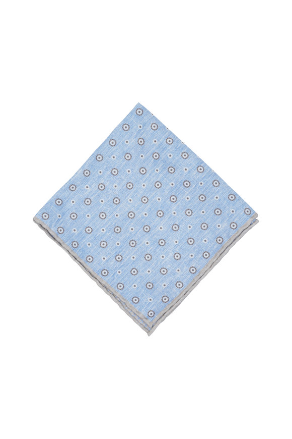 Paolo Albizzati Light Blue Dot Silk Blend Pocket Square