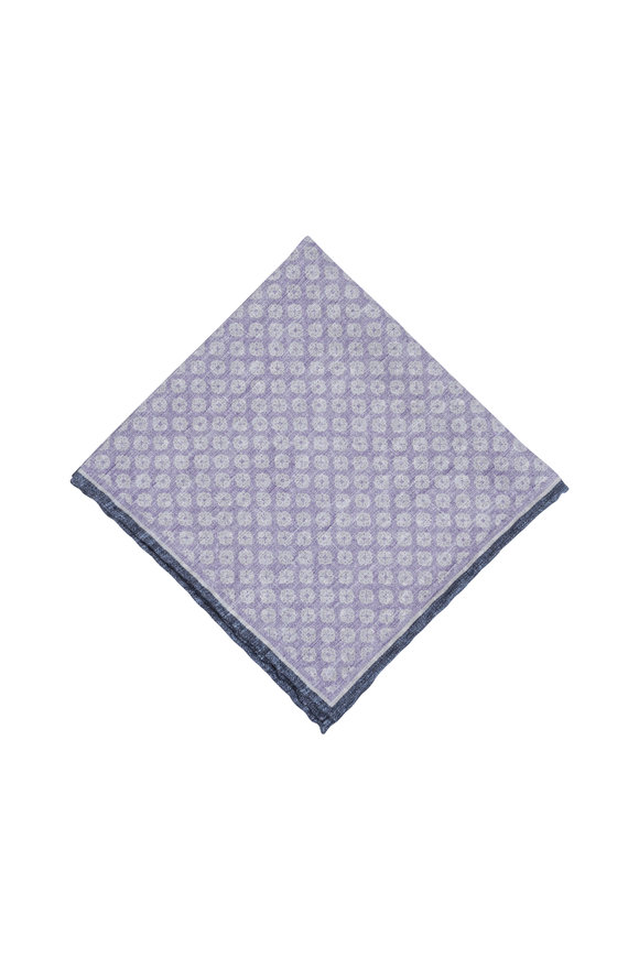 Paolo Albizzati Lavender Geometric Silk Blend Pocket Square