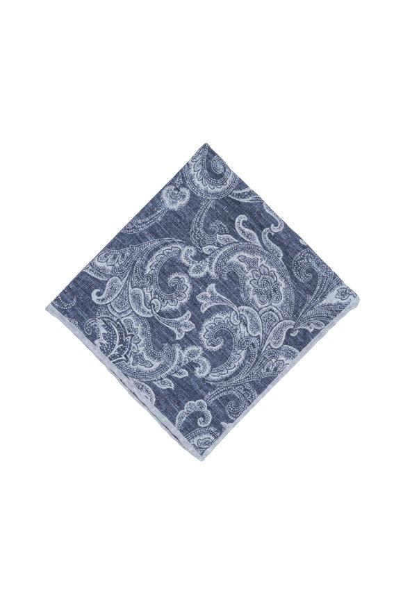 Paolo Albizzati Blue & Gray Paisley Silk Blend Pocket Square