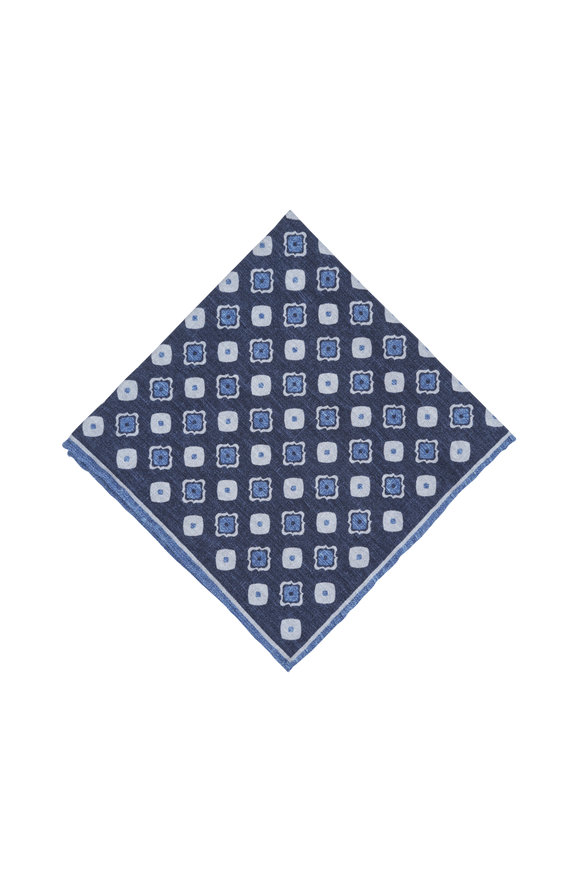 Paolo Albizzati Navy Blue Geometric Silk Blend Pocket Square