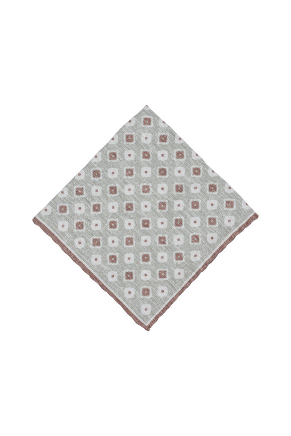 Paolo Albizzati Sage & Taupe Geometric Silk Blend Pocket Square