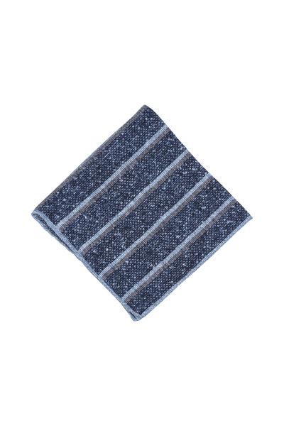Paolo Albizzati - Blue & Gray Striped Linen Blend Pocket Square