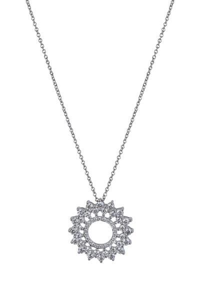 Cairo - 14K White Gold Diamond Floral Pendant Necklace