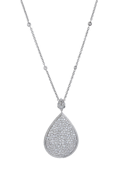 Cairo - White Gold Diamond Pearshape Pendant Necklace