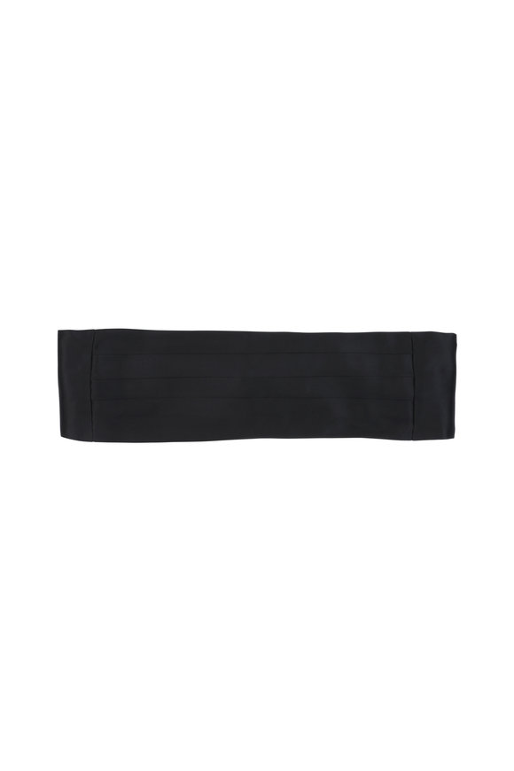Kiton Black Silk Pleated Cummberbund