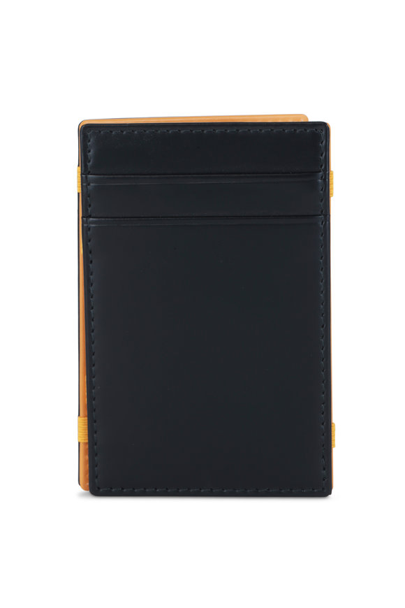 Ettinger Leather Black & Yellow Leather Magic Wallet