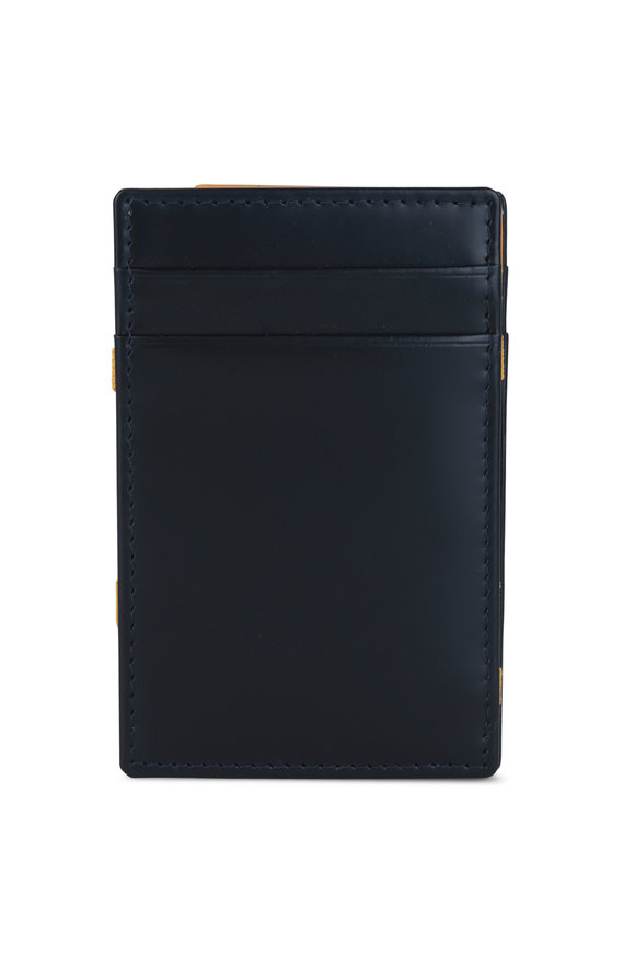 Ettinger Leather Navy Blue & Yellow Leather Magic Wallet