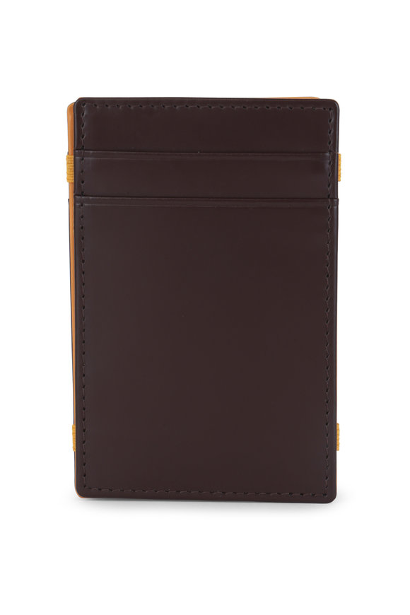 Ettinger Leather Nutmeg & Yellow Leather Magic Wallet