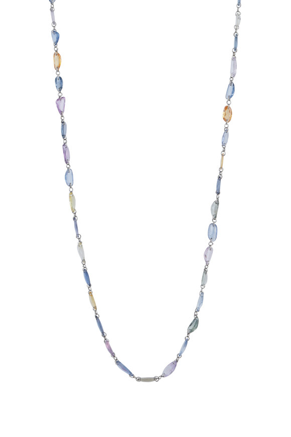 Cairo 18K White Gold Multi Sapphire Chain Necklace