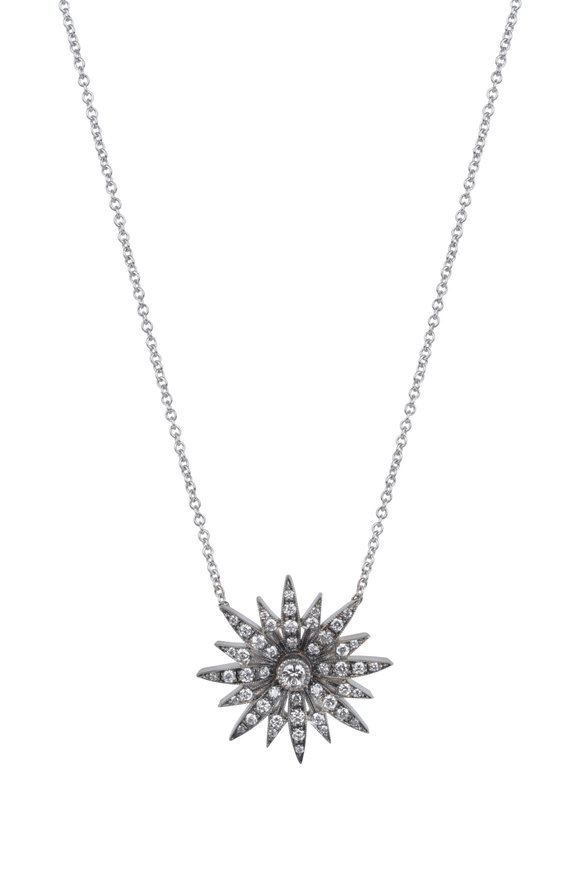 Sylva & Cie 18K White Gold Diamond Starburst Pendant Necklace