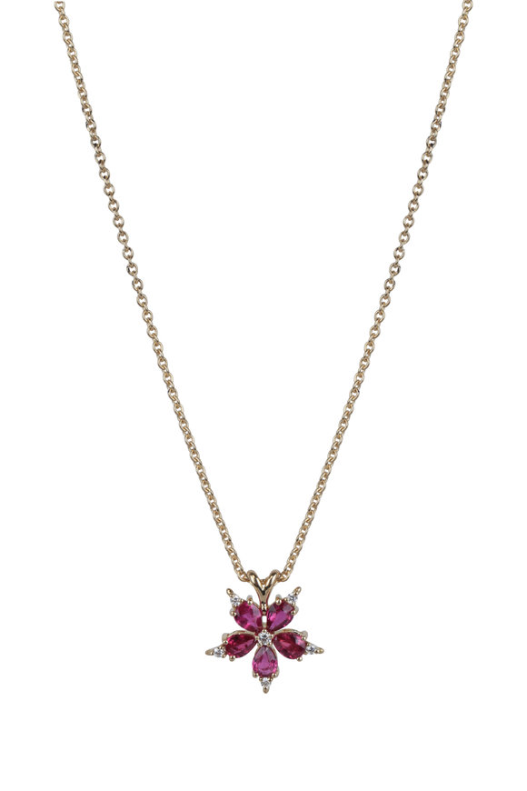 Paul Morelli 18K Yellow Gold Ruby Star Anise Pendant Necklace