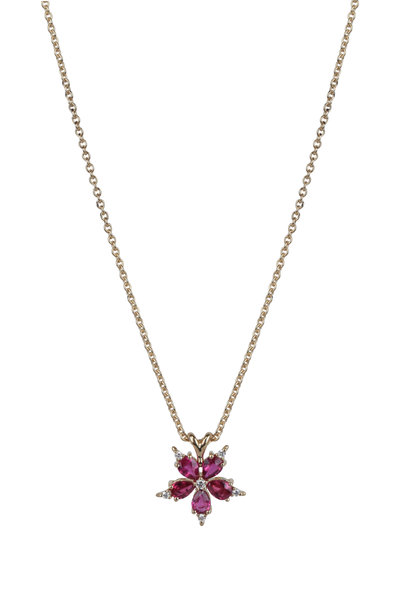 Paul Morelli - 18K Yellow Gold Ruby Star Anise Pendant Necklace