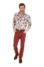 Maurizio Baldassari - Burgundy Stretch Cotton & Silk Five Pocket Pant