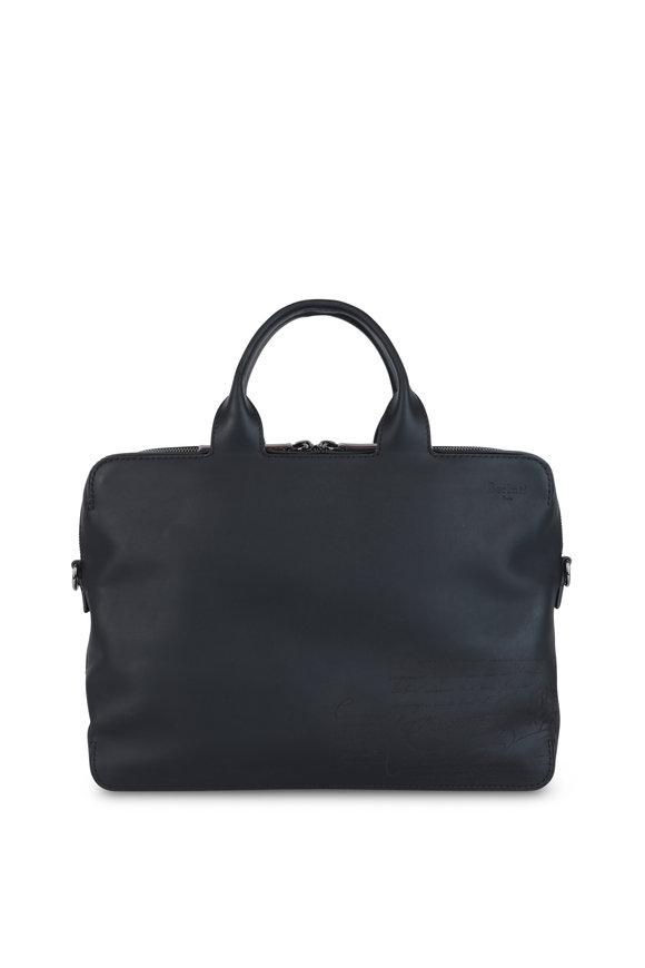 Berluti Profil Black Leather Briefcase