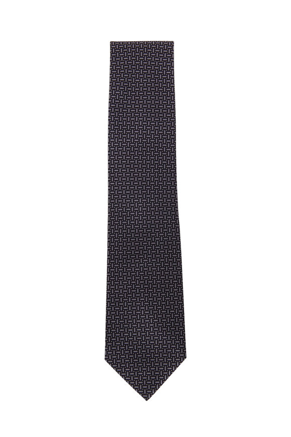 Brioni Midnight Basketweave Silk Necktie