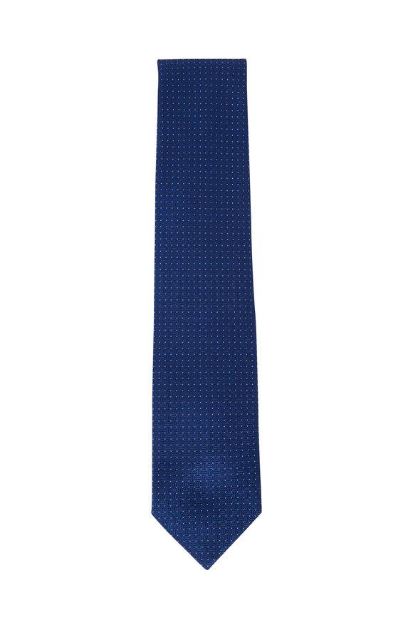 Brioni Navy Blue Woven Boxes Silk Necktie
