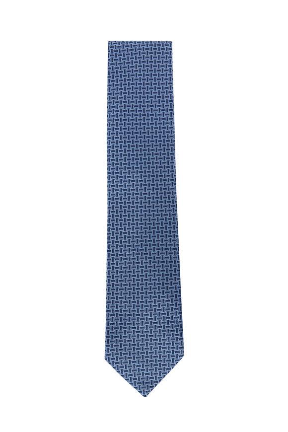Brioni Blue Basketweave Silk Necktie