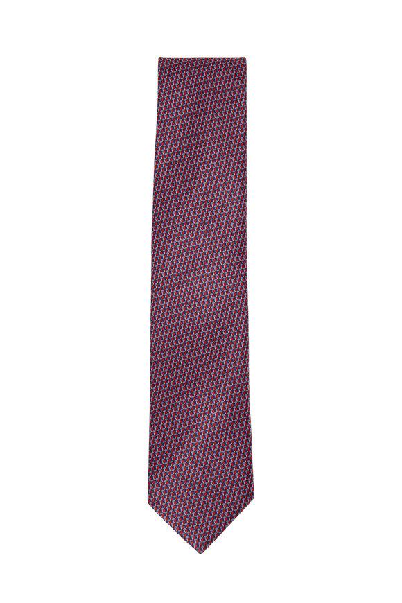 Brioni Bordeaux Hexagons Silk Necktie