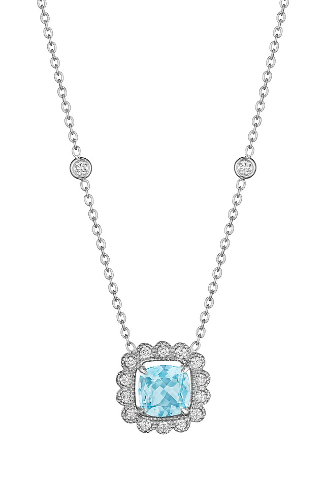 White Gold Aquamarine Pendant Necklace