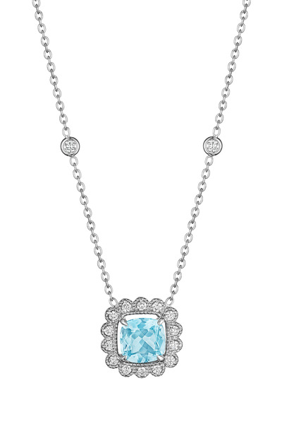 Penny Preville - White Gold Aquamarine Pendant Necklace