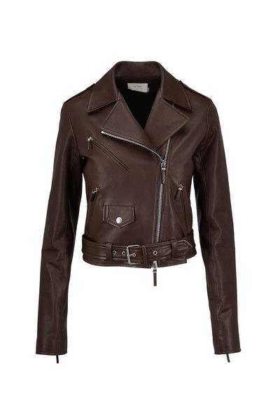 The Row - Perlin Espresso Soft Leather Cropped Moto Jacket