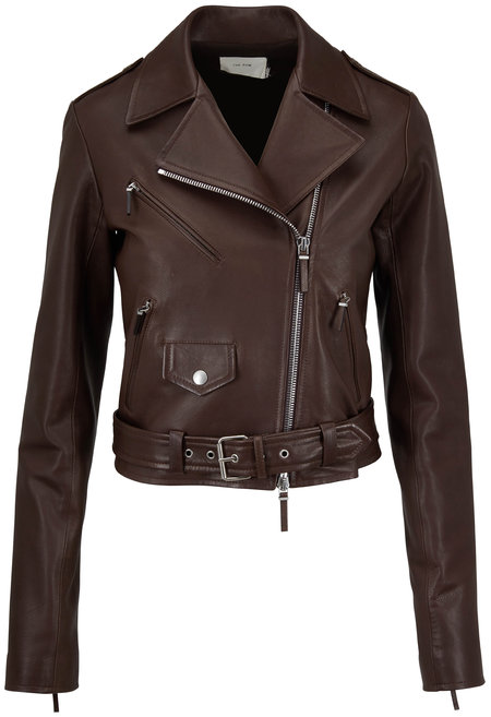 The Row Perlin Espresso Soft Leather Cropped Moto Jacket