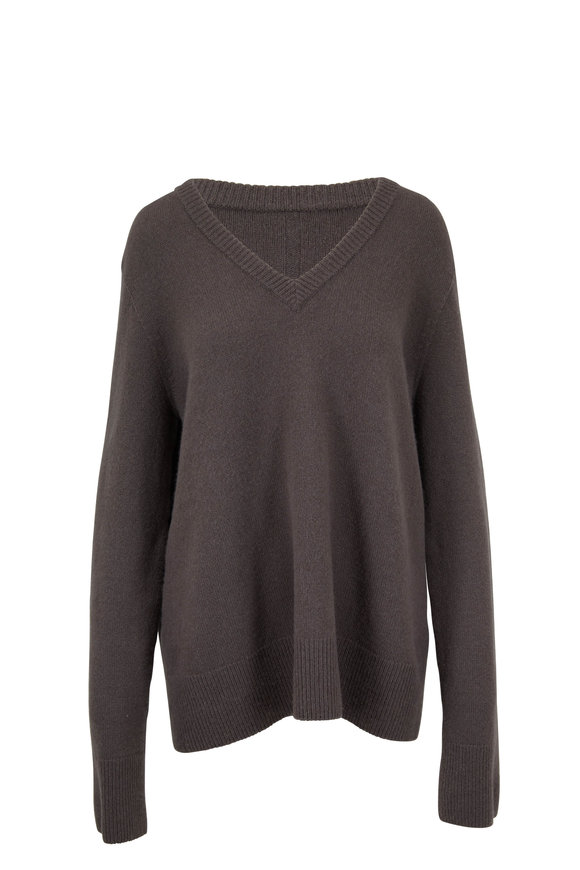 The Row Elaine Derby Grey Wool & Cashmere V-Neck Sweater