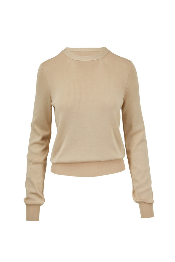 The Row Raffi Khaki Superfine Silk Zip-Back Sweater