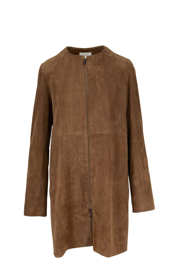 The Row Anka Dark Taupe Stretch Suede Clean Coat