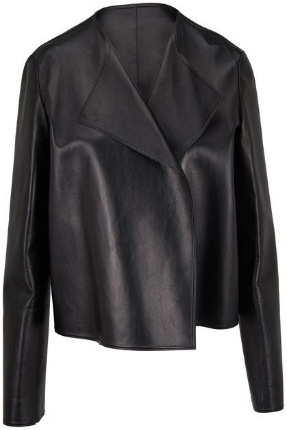 The Row Lino Black Nappa Leather Open Front Jacket